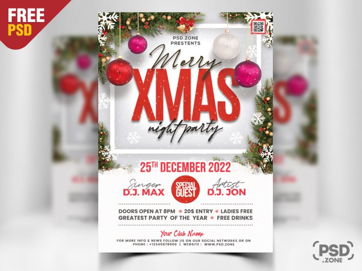 Christmas Party Flyer Design PSD