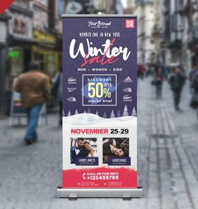 Winter Sale Roll Up Banner PSD