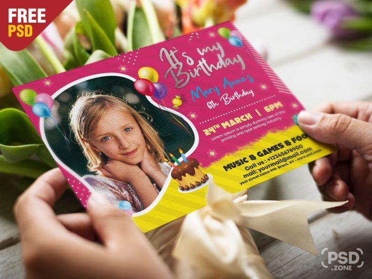 5x7 Birthday Invitation Card PSD