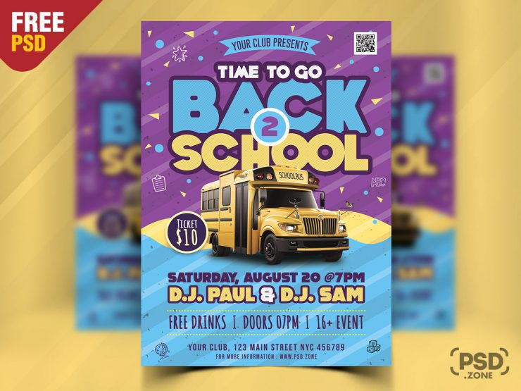 Back to School Party Flyer PSD