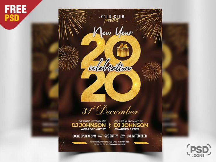 New Year Eve 2020 Event Flyer PSD