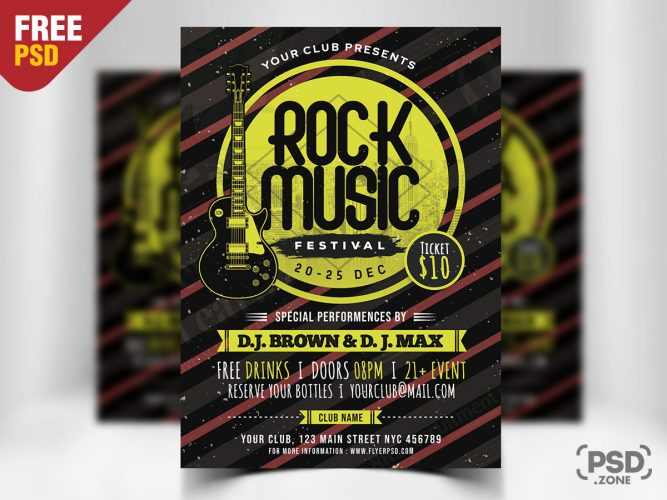 Rock Music Festival PSD Template
