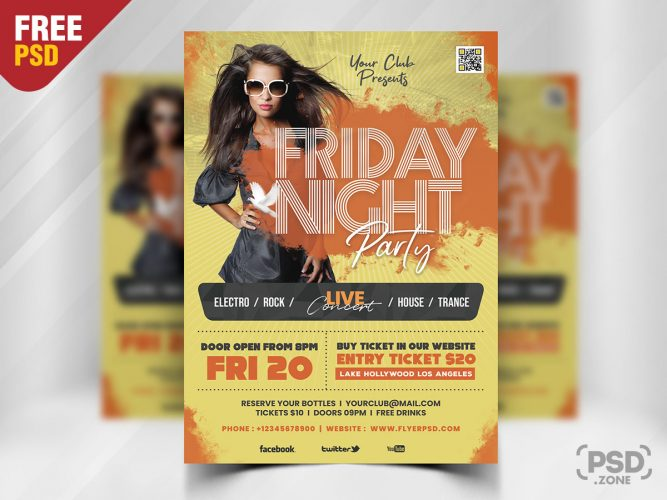 Friday Night Music Club Party Flyer PSD