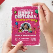 Kids Birthday Card PSD Template
