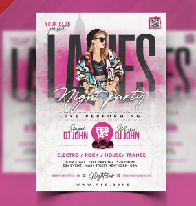 Ladies Night Party Flyer Design PSD