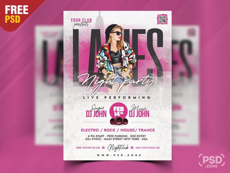 Ladies Night Party Flyer Design PSD
