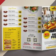 Restaurant Food Menu Tri Fold Brochure PSD