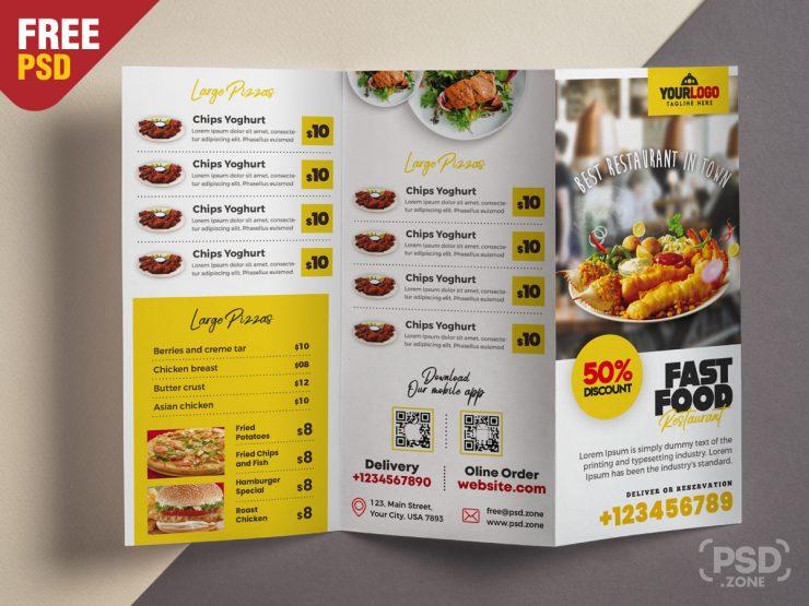 Restaurant Food Menu Tri Fold Brochure PSD