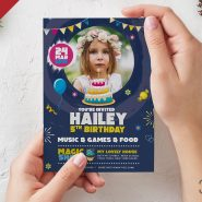 5x7 Size Birthday Invitation Card Design PSD
