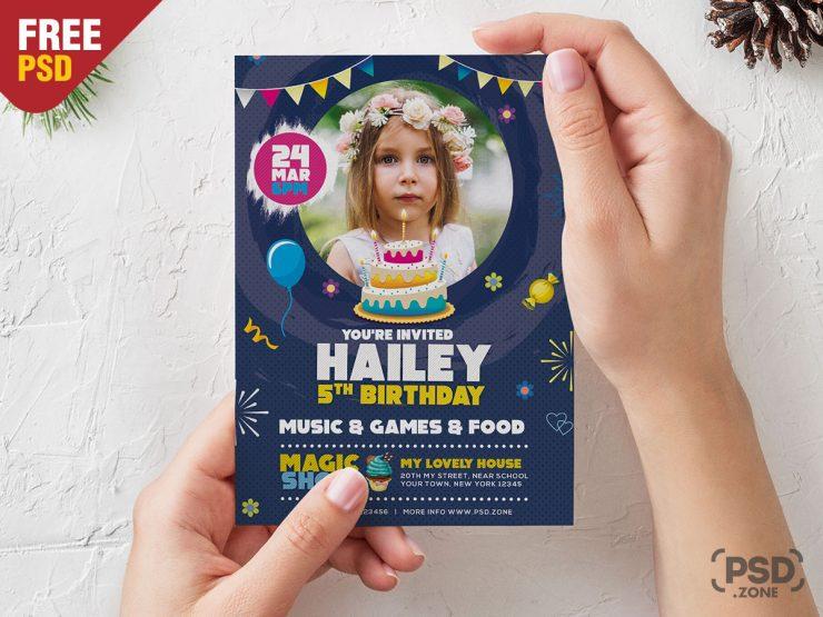 5x7 Size Birthday Invitation Card Design PSD