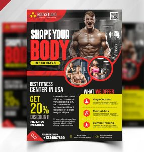 Gym Fitness Center Flyer PSD Template