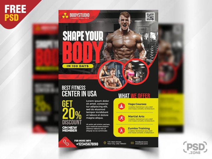 Gym Fitness Center Flyer PSD Template