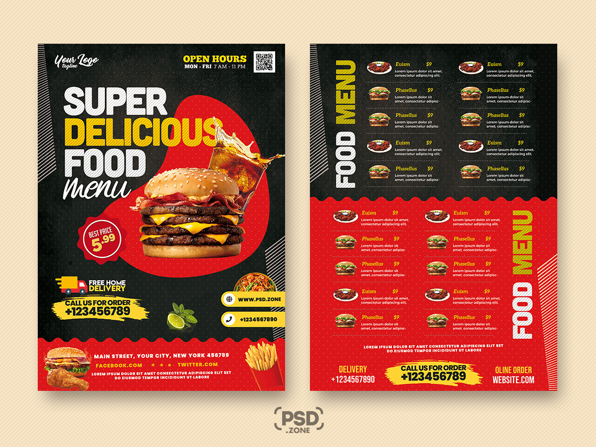 Restaurant Food Menu Design PSD Template
