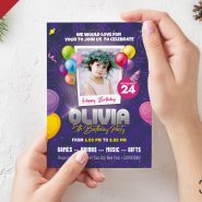 5×7 Birthday Party Invitation Card PSD