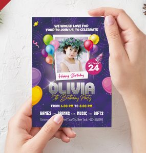 5x7 Birthday Party Invitation Card PSD
