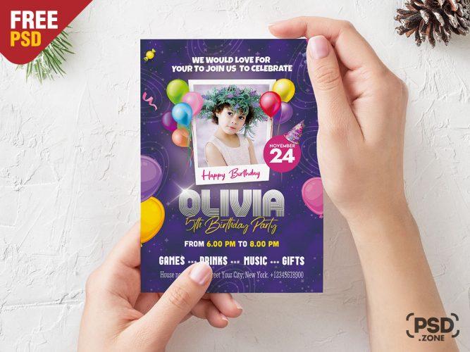 5x7 Birthday Party Invitation Card PSD