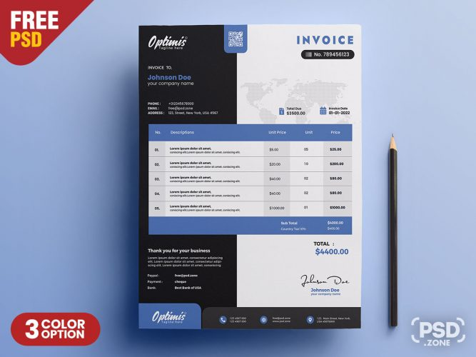 A4 Professional Invoice PSD Template