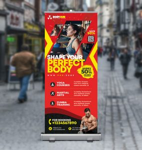 Gym Fitness Business Roll Up Standee PSD