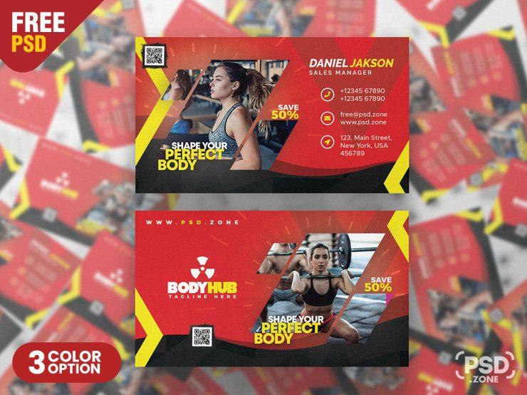 Gym and Fitness Center Business Card PSD