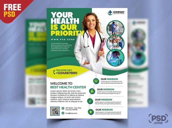 Hospital and Medical Clinic Flyer PSD