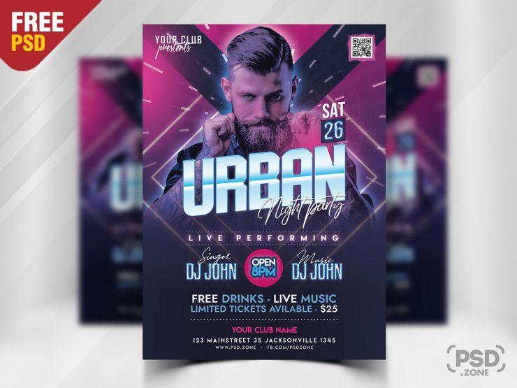 Urban Night Party Flyer PSD