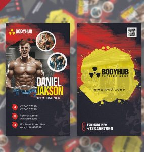 Vertical Gym Trainer Business Card PSD