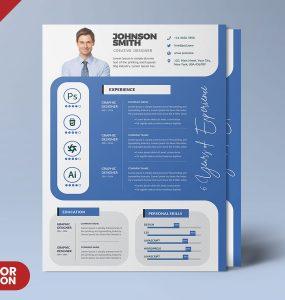 A4 Size Resume CV PSD Template