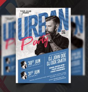 Urban Night Music Party Flyer PSD
