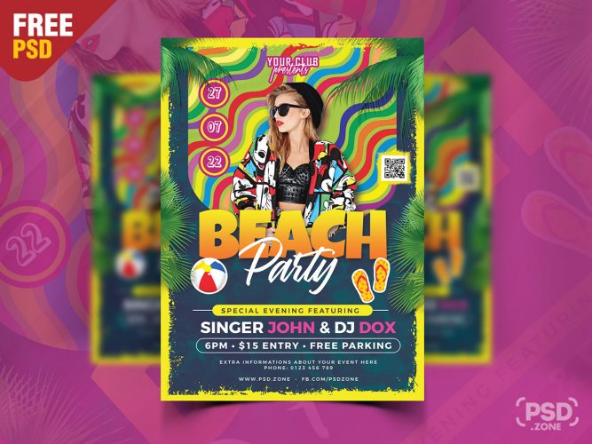 Beach Party Flyer Design PSD