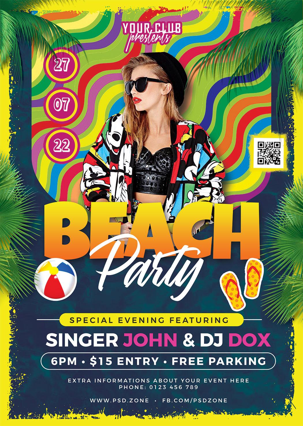 Beach Party Flyer Design PSD