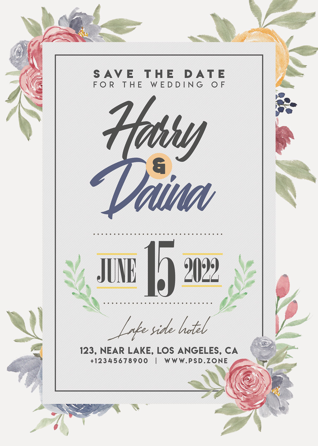 Beautiful Wedding Invitation Card Design PSD