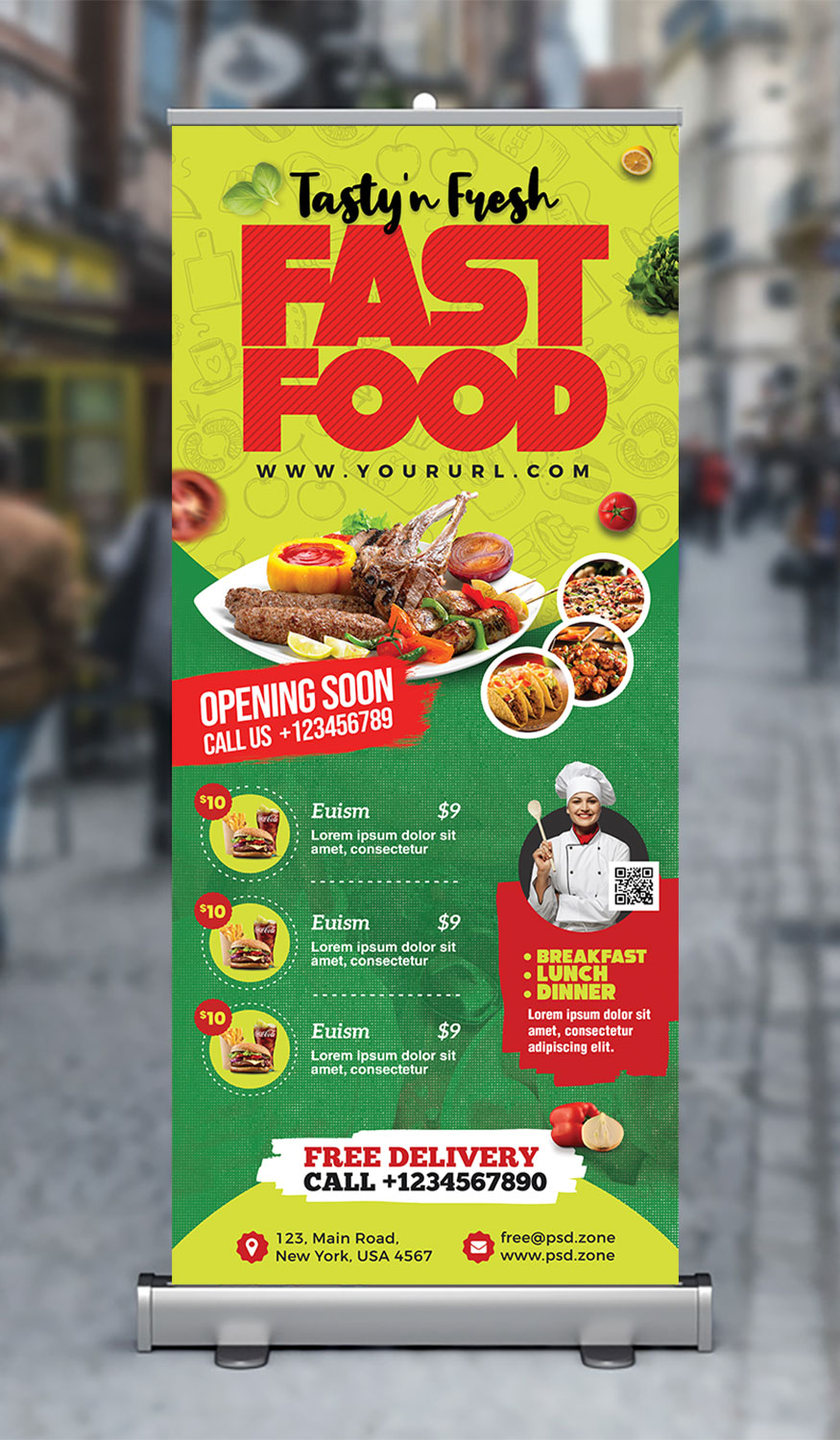 Fast Food Restaurant Roll Up Banner PSD