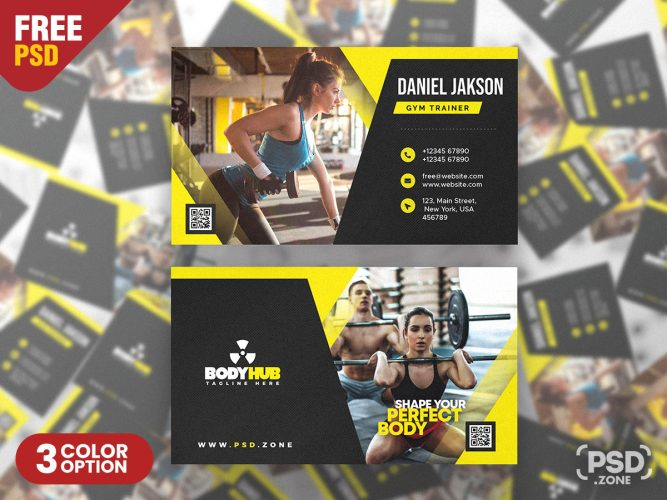 Fitness Gym Trainer Business Card PSD