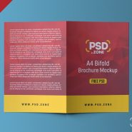 A4 Bifold Brochure Mockup PSD (Front and Back)