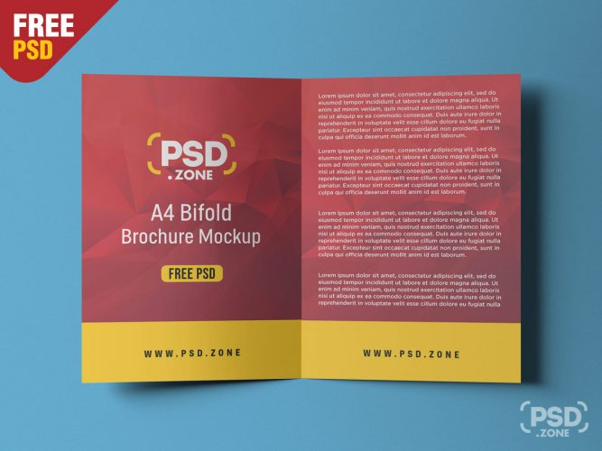 A4 Bifold Brochure Mockup PSD (Left and Right)