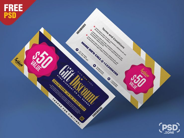 Fashion Store Gift Voucher Design PSD