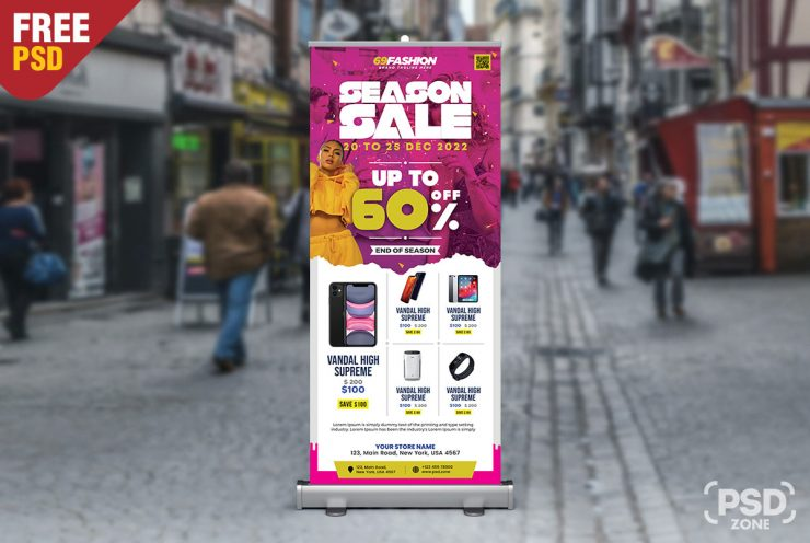 Season Sale Roll Up Standee Banner PSD