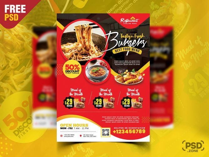 Tasty Food Restaurant Flyer PSD