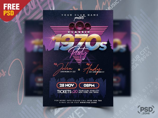 Classic Retro Style Party Flyer PSD