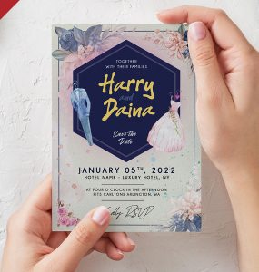 Wedding Invitation Card PSD Template