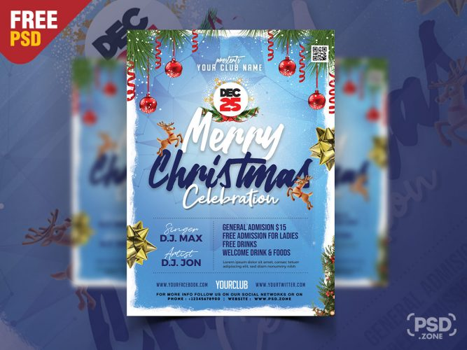Merry Christmas Celebration Event Flyer PSD