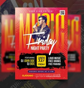Night Club Friday Party Flyer Design PSD