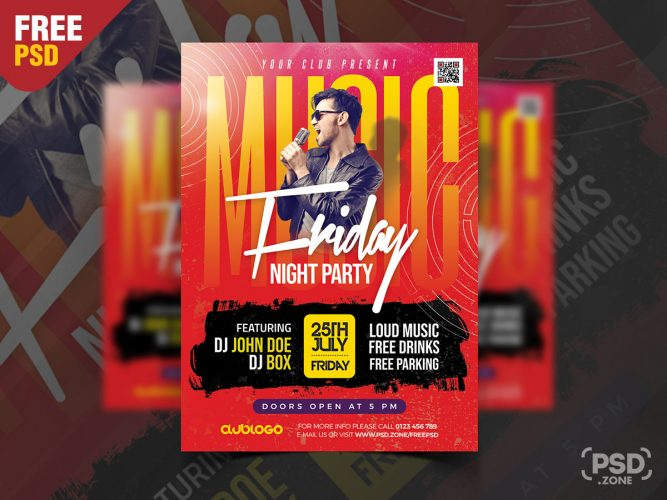 Night Club Friday Party Flyer Design PSD