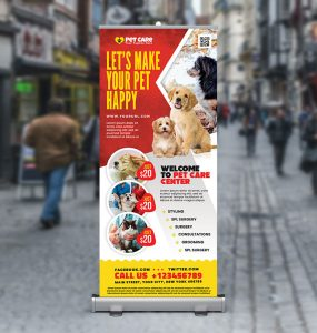 Pet Care Clinic Roll up Banner PSD