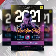 2021 New Year Party Celebration Flyer PSD