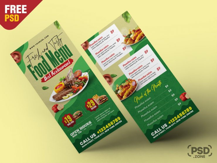 Restaurant Food Menu DL Flyer PSD