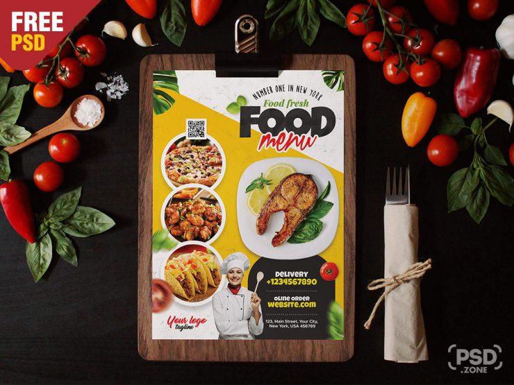 A4 Size Restaurant Food Menu PSD Template