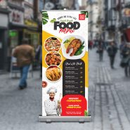 Food Restaurant Advertisement Roll Up Banner PSD