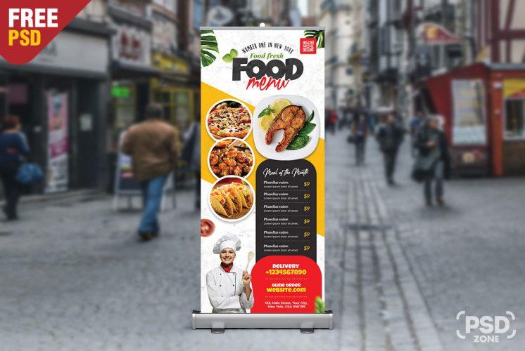 Food Restaurant Advertisement Roll Up Banner PSD