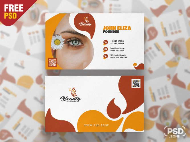 Spa & Beauty Saloon Business Card PSD Template